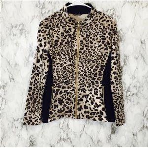 ELLEN TRACY Animal Print Full Zip Jacket Size-L.